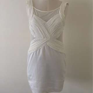 DESIGNER LOOKING WHITE DRESS WITH CUT OUTS AND DETAILING