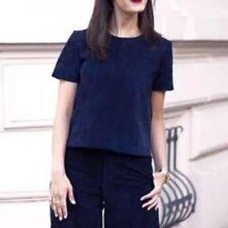 Zara Woman Navy Zip Back T Shirt Top