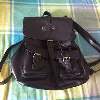 Black Leather Bagpack