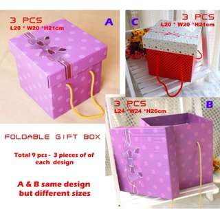 SELLING BELOW COST!! FREE DELIVERY!!! 9 PIECES FOR JUST $12 -  Foldable Gift Box Set of 9 Pieces (Now $12) - UP $8.50 Per Piece