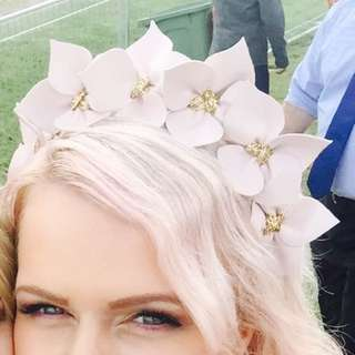 Soft Pink And Gold Crown Leather Fascinator