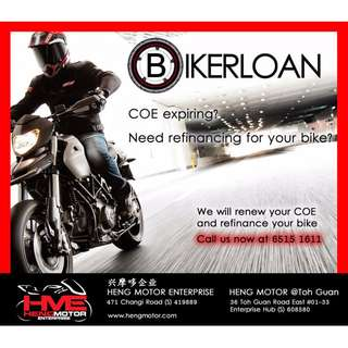 Renewal of COE and refinancing of your motorcycle