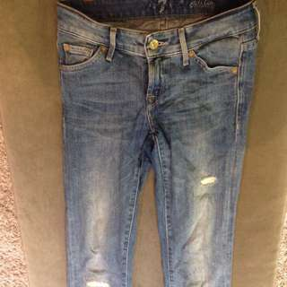 Designer 7 For All Mankind Skinny Rip Jeans 8