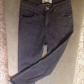 High Waist Skinny Grey Jeans 8