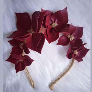 Burgundy And Gold Handmade Leather Crown Fascinator