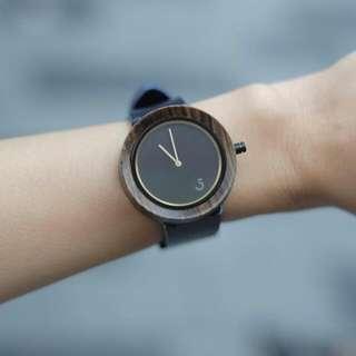 Minimalist Ebony Wood Leather Watch