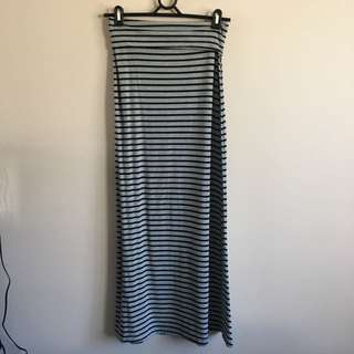 Gently Worn Grey And Black Striped Maxi Skirt