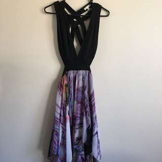 Barely Worn Purple And Black Cutout Handkerchief Dress