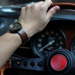 Teak Wood Leather Watch