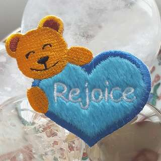 Iron On Patch/ Applique   ↪ Bear with Plush Blue Heart ↔️ Rejoice 🐻💙  💱 $2.90 Each Piece