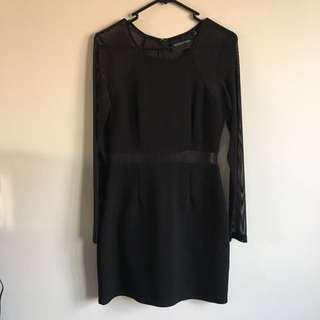 Gently Worn Black Mesh Cutout Dress