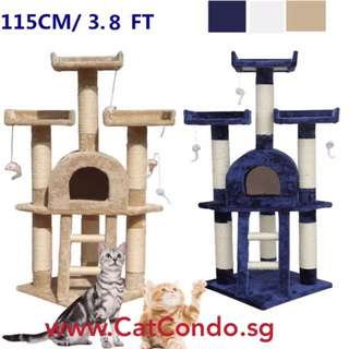 115cm Cat Treehouse Tower Scratch Post Condo Toy