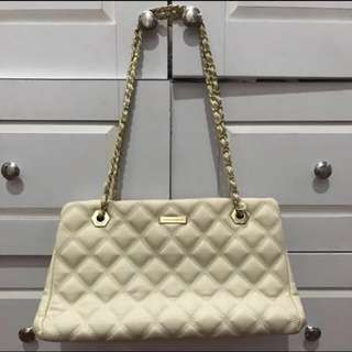 Charles And Keith Leather Bag In Beige