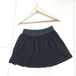 Black Pompom Skirt