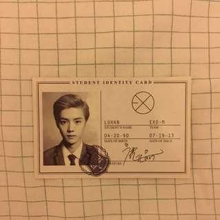 EXO Luhan XOXO China Press Official Photocard