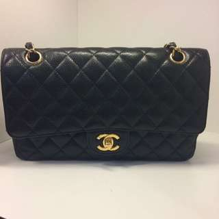 正品 90%新 Chanel 25cm 黑色荔枝皮金色雙鍊袋