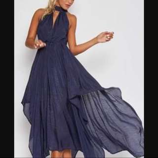 Navy Blue Maxi Asymmetrical Dress