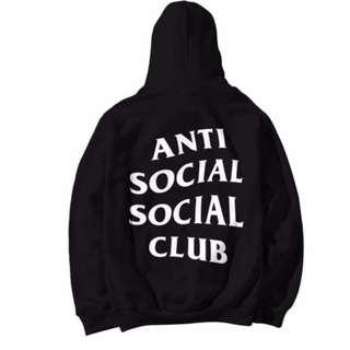 Anti Social Social Club Paranoid Hoodie Kanye Sweatshirts Mens Womens Jumper Hat Black