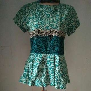 Green Plum Batik Top
