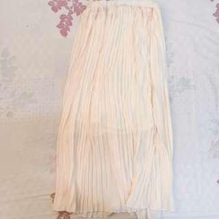 🚚 二手/米色雪紡長裙