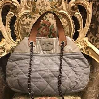 Chanel Gray Leather Handbag
