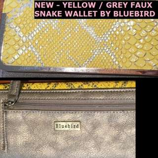 NEW - BLUE BIRD FLIP WALLET - SNAKESKIN YELLOW AND GREY