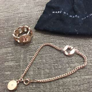 Marc Jacobs Rose Gold Ring And Bracelet Set