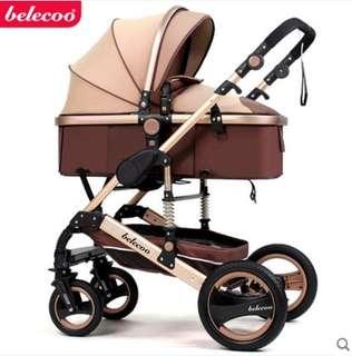 頂級款 鋁合金 belecoo 雙向嬰兒推車 高景觀 可全躺嬰兒手推車嬰兒車兒童推車 避震