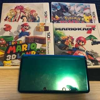 美版3ds主機連四款遊戲(Mario Kart+super Mario Land+pokemon Rumble)