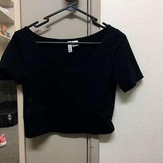 H&M Basic Black Crop Top