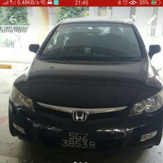Stylish Black Honda Civic 1.6A, Powerful And Responsive,  Enjoy Premium Sound System, Power To Dream,  Uber/Grab Ready.  Available 1st Week Of July.  Book Now With 90915808