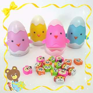 Chick Case Mini Animal Erasers