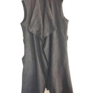 Longline Notched Lapel Open Front Faux Suede Blazer/Vest Size S By Zara Basics