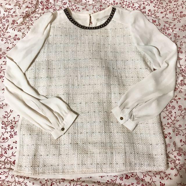 韓製雪紡拼接氣質襯衫上衣