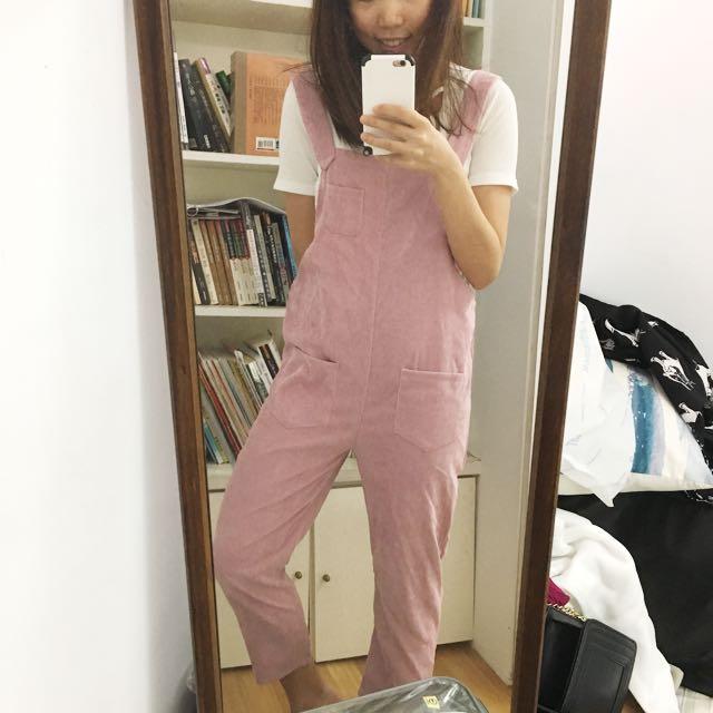 全新粉紅吊帶褲