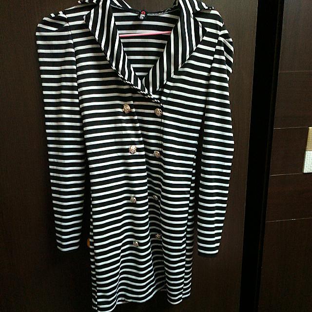 『●克妹●黑白條紋洋裝