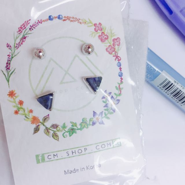 韓國 飾品 幾何原石三角耳環