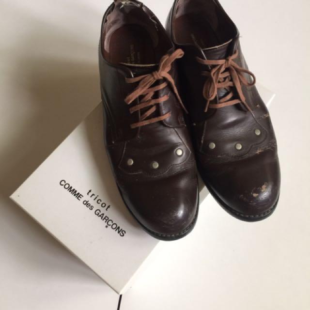 日本購入 Comme des garcons tricot 川久保玲 日本製 翹頭 皮鞋 卯釘 牛津鞋 紳士鞋 雕花