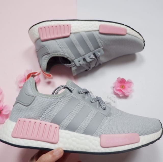 hot sale online 67cb3 82589 (In Stock) Adidas NMD R1 Grey Pink Shoes