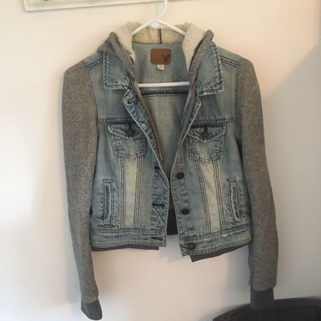 American Eagle Jean Jacket With Built In Hoodie