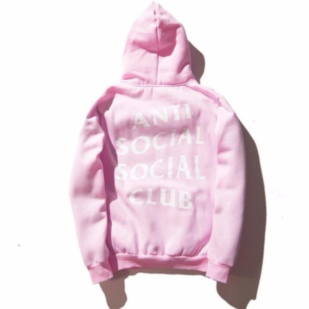Anti Social Social Club Paranoid Hoodie Kanye Sweatshirts Mens Womens Jumper Hat Pink