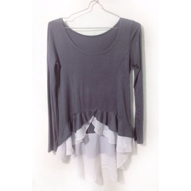 DARK GREY ASYMETRIC TOP