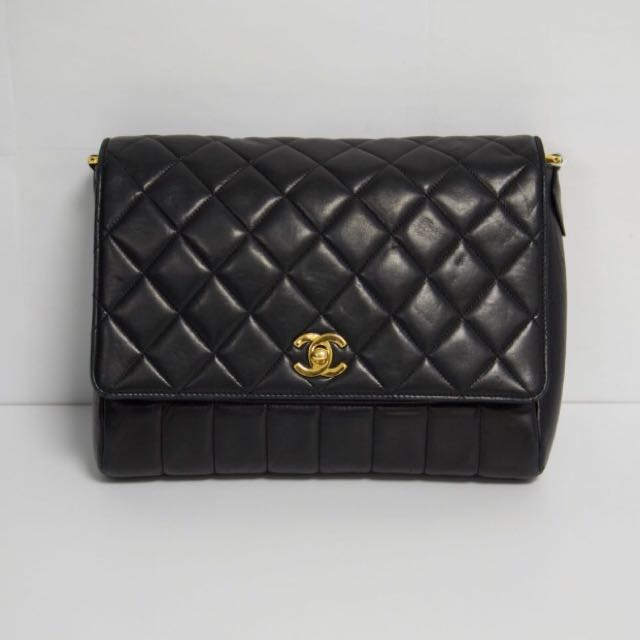 Authentic Chanel black vintage quilted flap