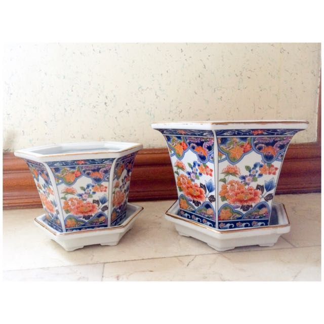 Authentic Japanese Porcelain Vase Pair Home Furniture On Carousell