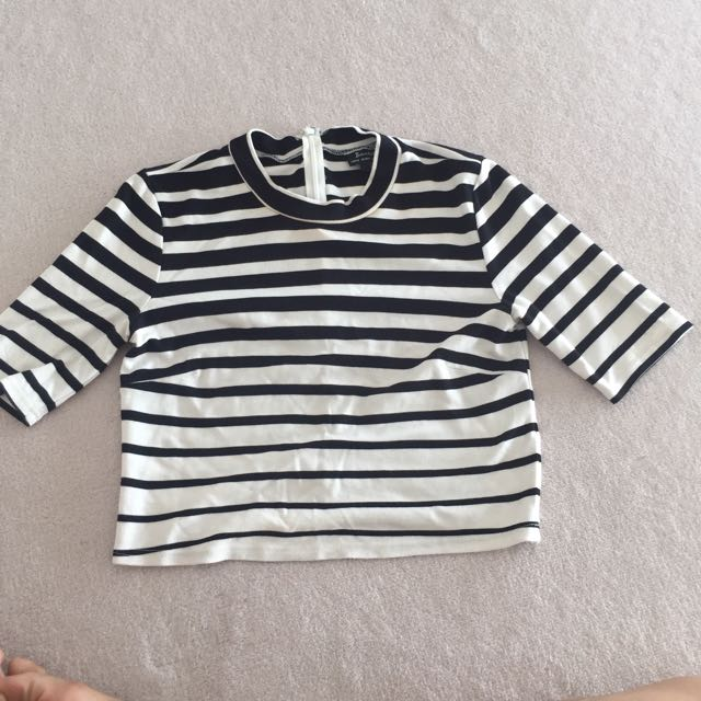Bardot Stripe Crop Top