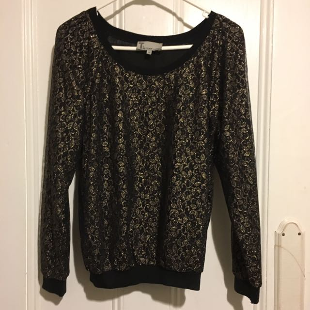 Bettina Liano Gold And Black Shimmer Lace Top