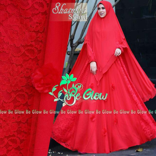 Bglow Melody Syar'i Red Gamis Plus Khimar