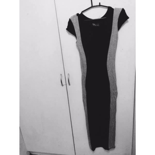 Black And Grey Long Dress