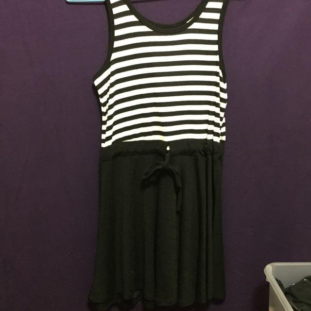 Black And White Striped Drawstring Cotton Dress