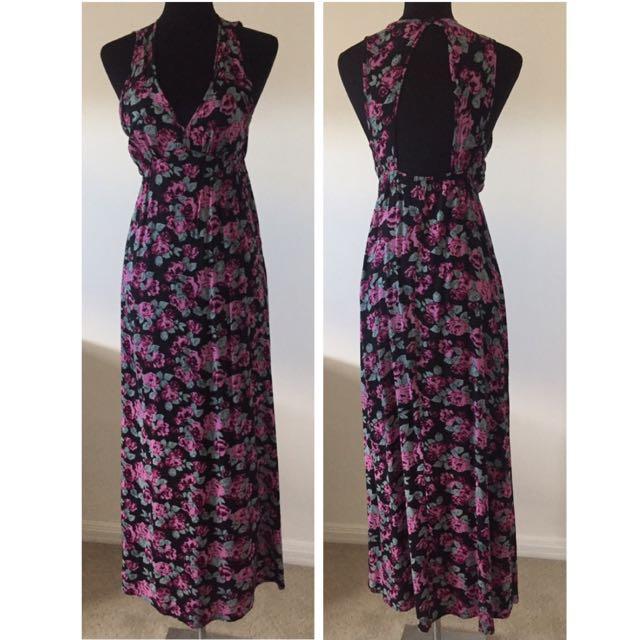 Black Floral Maxi Dress Open Back V-Neck